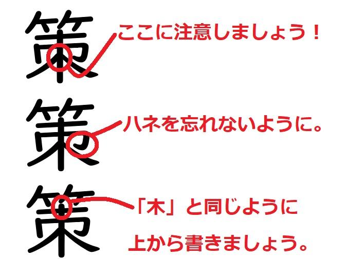 間違いやすい漢字「策」